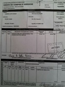 Copia de la orden de compra que evidencia el pago de $78,871 de fondos públicos para adquirir una guagua Cadillac Escalade del 2015 para el alcalde de Aguadilla, Carlos Méndez Martinez.