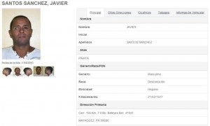 Ficha de Javier Santos Sánchez en el Registro de Ofensores Sexuales.