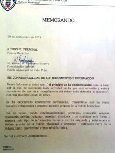Orden del Comisionado Interino de la Policía Municipal de Cabo Rojo a los agentes bajo su mando (Hacer click para agrandar).