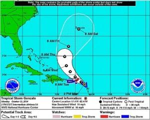 Gráfica de la trayectoria a las 2:00 p.m. del lunes de la tormenta tropical Gonzalo.