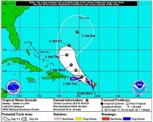 Gráfica del Centro Nacional de Huracanes sobre la ubicación de la tormenta tropical Gonzalo a las 5:00 a.m. del lunes.