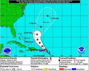 Gráfica de la trayectoria del huracán Gonzalo en el boletín de las 8:00 de la noche del lunes.