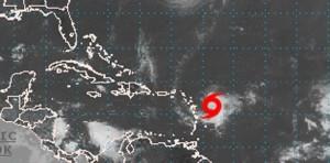 """Posición de """"Gonzalo"""" según el más reciente boletín del Centro Nacional de Huracanes en Miami."""