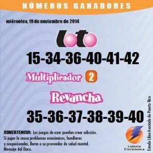 Notificación de los resultados de los sorteos de Loto y Revancha para el 19 de noviembre de 2014 (Suministrado Lotería Electronica).