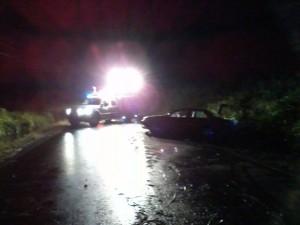"""Escena del accidente fatal ocurrido en la carretera PR-114 de Cabo Rojo (Foto cortesía de José """"Junito"""" Rivera, de West Coast Fire & Rescue)."""