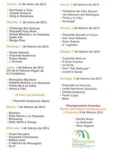 Calendario oficial de las Fiestas Patronales de Mayagüez 2015 (Suministrado).