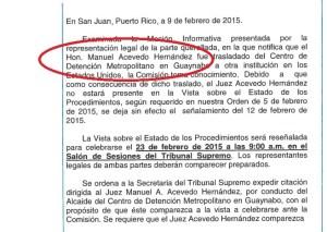 """Documento de la Comisión de Disciplina Judicial del Tribunal Supremo en el que aún se le llama """"honorable"""" al convicto exjuez Manuel Acevedo Hernández."""