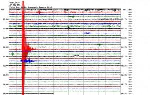 """Gráfica del temblor sentido el lunes en la tarde en la region oeste central de la Isla. Haga """"click"""" sobre la imagen para agrandarla (Fuente Red Sísmica de Puerto Rico)"""