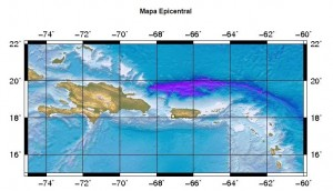 Mapa que ubica el epicentro del temblor de tierra reportado en Hormigueros y San Germán (Red Sísmica de Puerto Rico).