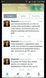 Mensajes a través de su cuenta de Twitter del gobernador Alejandro Garcia Padilla, del miércoles en la noche, ante la entonces probabilidad de votos en contra por parte de representantes populares (Captura de pantalla).