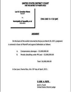 Sentencia del Tribunal de Distrito Federal en San Juan contra el Municipio de Aguadilla (Suministrada).