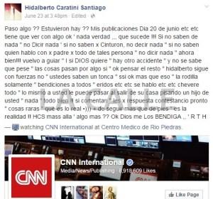 Lo que presuntamente escribió Caratini Santiago luego del trágico choque (Fotocaptura Facebook).