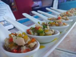 La forma creative en que se sirve el ceviche en Aquaviva.