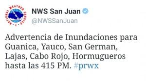 Mensaje de Twitter del Servicio Nacional de Meteorología sobre la advertencia de inundaciones para pueblos del suroeste.