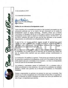 """Documento original de la carta circular del rector interino del RUM, Dr. Lucas Aviles. Haga """"click"""" sobre la imagen para acceder al documento."""