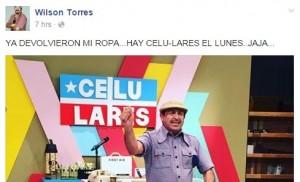 """Mensaje del comediante Wilson Torres confirmando la devolución de vestuario de """"Maneco"""" (Fotocaptura Facebook)."""