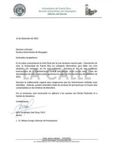 """Carta del rector John Fernández Van Cleve a los decanos del RUM. Haga """"click"""" sobre la imagen para ampliarla."""