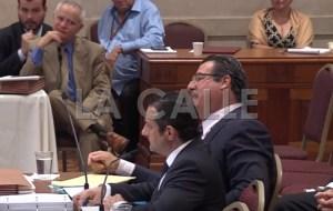 """El ingeniero Edwin Rodríguez y el licenciado José Andreu Fuentes durante las vistas senatoriales del llamado """"Cartel del Petróleo"""". Haga """"click"""" sobre la imagen para ampliarla (Captura de YouTube)."""