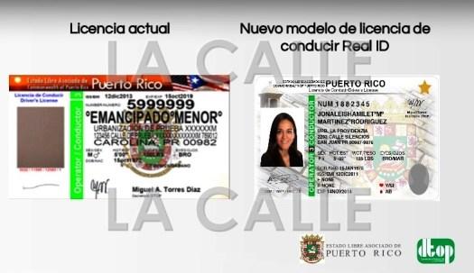 """Formato actual y el nuevo """"Real ID"""" que cumple con requisitos federales (Suministradas DTOP)"""