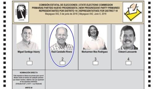 El comisionado electoral del PNP, Jorge Dávila, confirmó que no se contarán los votos que se emitan bajo la foto del aspirante Raúl Caraballo (Papeleta modelo CEE).