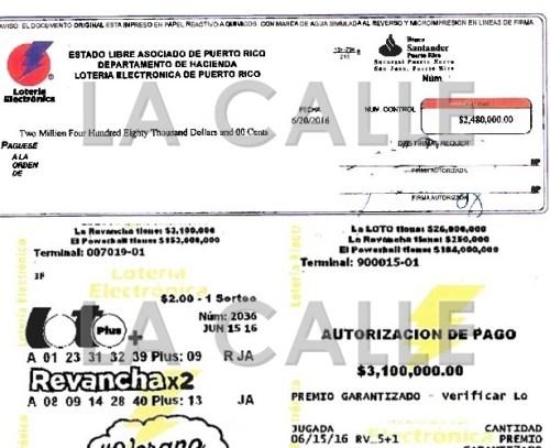 Cheque pagado y el boleto de la persona que se pegó en la Revancha en Maricao (Suministrados Lotería Electrónica).