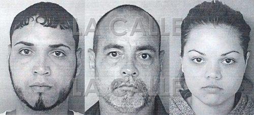 De izquierda a derecha, Pedro G. Arroyo Montaz, Miguel A. Mercado Arroyo y Dayana Arroyo Desardén. Los últimos dos fueron denunciados por obstrucción a la justicia (Suministradas Policía).
