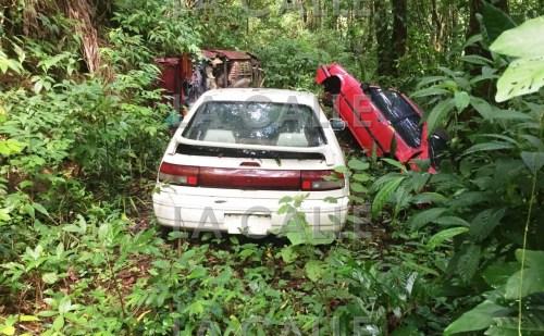 Tres automóviles recuperados en un paraje solitario del barrio Duey Bajo de San Germán (Suministrada Policía).