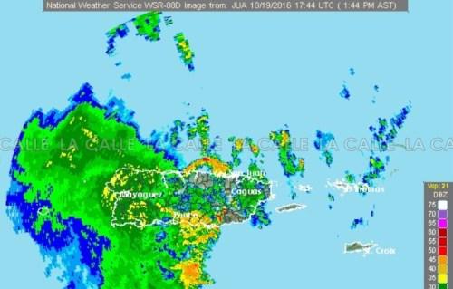 El radar del Servicio Nacional de Meteorología a la 1:44 de la tarde del miércoles (Fuente National Weather Service).