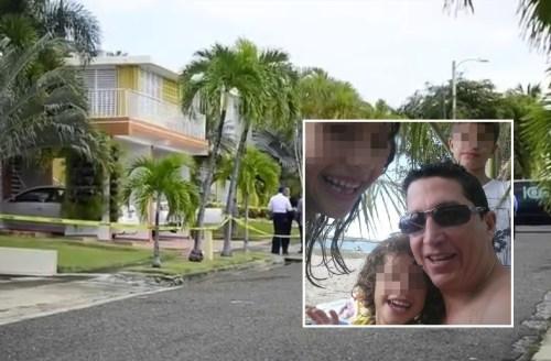 La residencia donde se produjo el trágico suceso, mientras que en el recuadro está una foto de Seguinot y sus hijos, que éste había publicado en la red social Facebook.