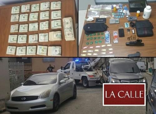 Parte del material, dinero y vehículos confiscados en el barrio París de Mayagüez (Suministradas Policía).