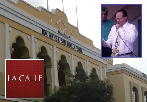 """Fachada de la Casa Alcaldía de Cabo Rojo. En el recuadro, el exalcalde Santos E. """"San"""" Padilla Ferrer (Fotos/LA CALLE Digital)."""
