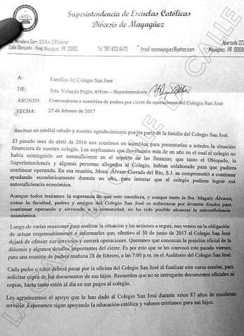 Carta en la que se confirma el cierre del Colegio San José de San Germán (Suministrada).
