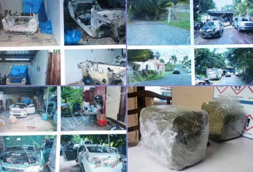 Evidencia ocupada por agentes de Vehículos Hurtados de Mayagüez en un taller de hojalatería de Aguada (Suministradas).