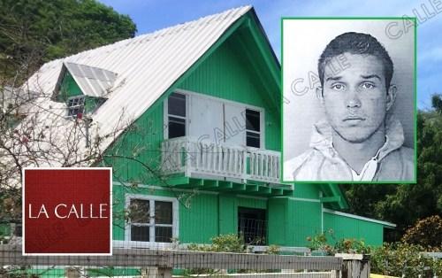 En el recuadro, foto de la ficha de Justin Acosta McGowan, y la residencia donde ocurrió el trágico suceso (Archivo/LA CALLE Digital).