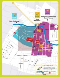 """División de sectores en Mayagüez durante las Justas. Haga """"click"""" sobre la imagen para ampliarla."""