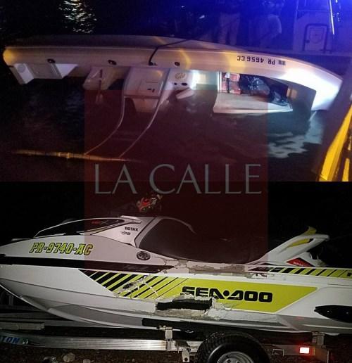 """La condición en que quedaron tanto el """"jet ski"""" como la lancha, involucrados en el accidente acuático ocurrido en La Parguera (Fotos/OMME Lajas)."""