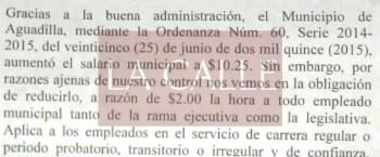 """A todos los empleados municipales les redujeron $2.00 la hora de su salario. Haga """"click"""" sobre la imagen para ampliarla. (Suministrada/Oye Aguadilla)."""