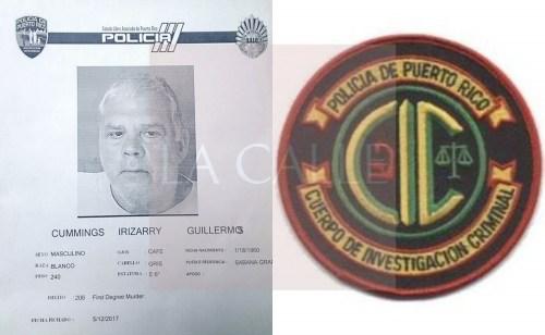 """Ficha de Guillermo Cummings Irizarry. Haga """"click"""" sobre la imagen para ampliarla (Suministrada/Policía)."""