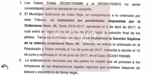 Parte de la resolución y orden emitida por la juez Lynnette García. El documento completo se puede acceder en la noticia.