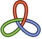 Kleeblattknoten gefärbt (zu: Knotentheorie von Jacques Lacan)