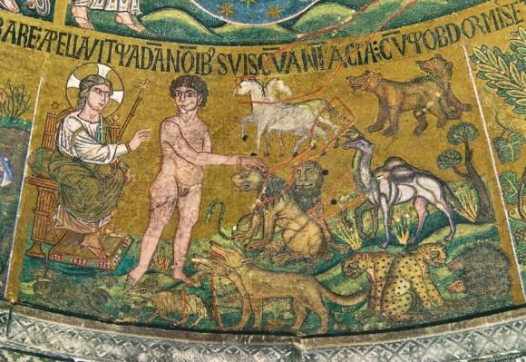 """Adam benennt die Tiere - Venedig - Basilika San Marco - zu: """"Das Sinthom"""" entziffern"""