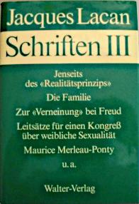 Titelseite von Jacques Lacan: Schriften III, Haas-Ausgabe, Walter-Verlag 1980