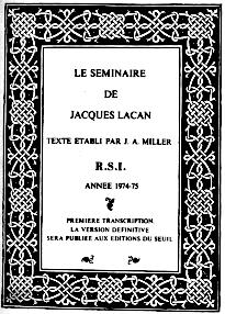 Lacan, Seminar 22, RSI, Version Miller, Titelseite