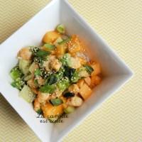 Salade thaï crevettes, melon et concombre