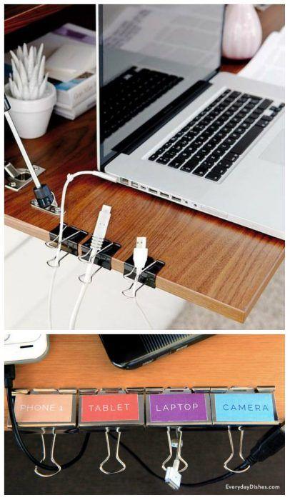 Cómo organizar tu escritorio con pinzas