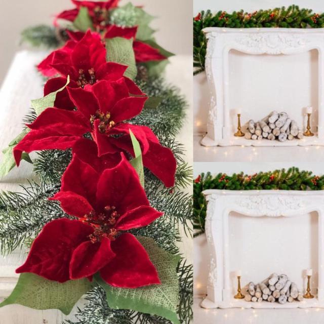 Noël Christmas poinsettia garland