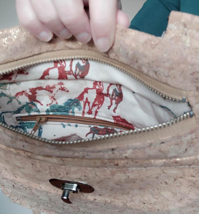 Polka bag, a pattern by Sacotin, sewn by La Casa Cactus