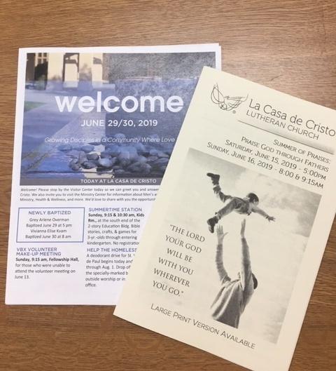 collating at La Casa de Cristo Phoenix, Arizona Lutheran Church