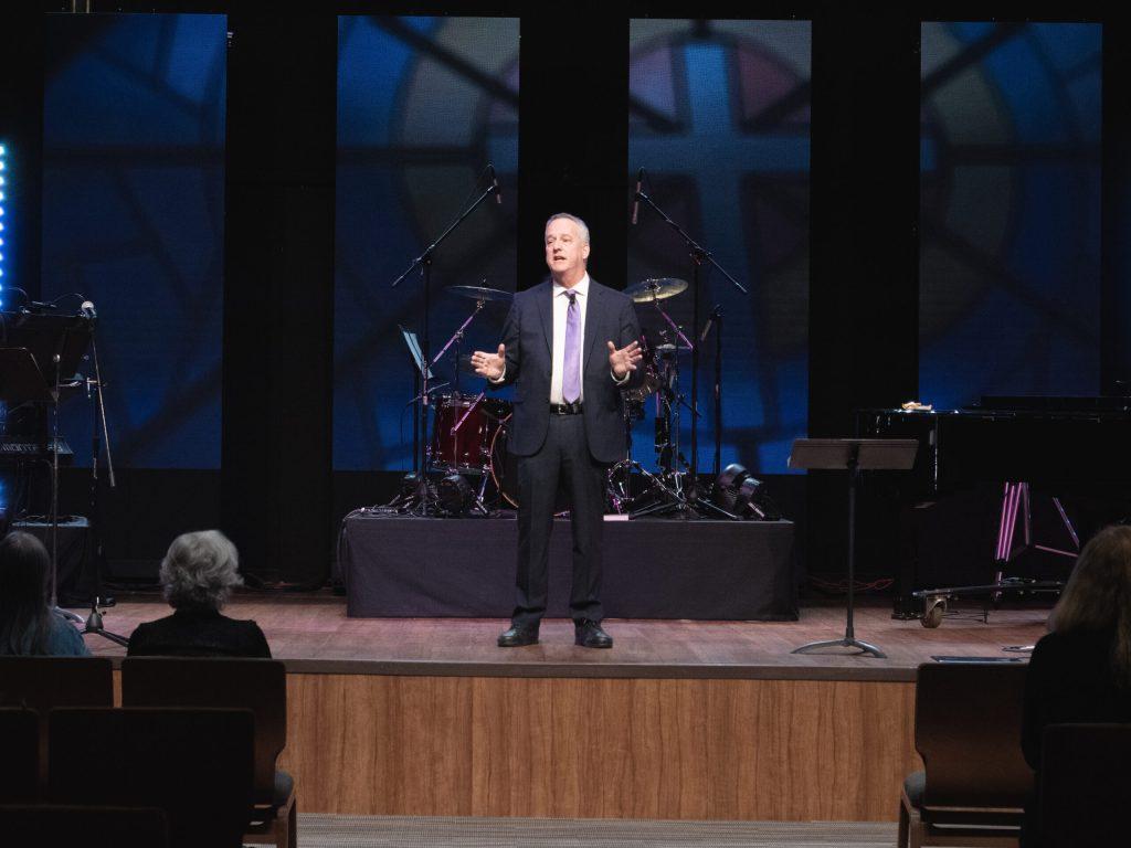 Pastor Jeff Ruby Preaching in our Scottsdale, Arizona Church Gathering Place at la casa de cristo lutheran church