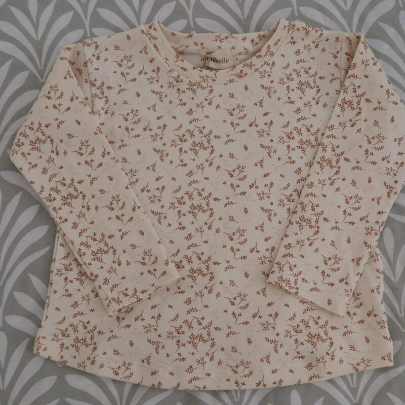 T-shirt mae petites feuilles cannelle Minabulle